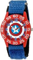 Marvel Boy's 'Captain America' Quartz Plastic and Nylon Automatic Watch, Color: (Model: W003215)