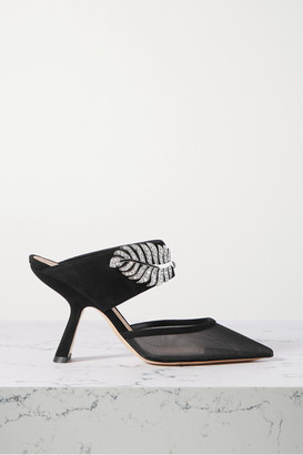 Nicholas Kirkwood Monstera Crystal-embellished Suede And Mesh Mules - Black