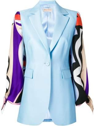 Emilio Pucci Vallauris Print Contrast Sleeve Blazer