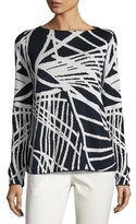 Lafayette 148 New York Bateau-Neck Spindle-Patterned Jacquard Sweater, Multi