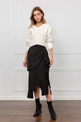 J.ING Splitter Black Midi Skirt