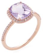 Meira T 14K Rose Gold, Amethyst & 0.19 Total Ct. Diamond Ring