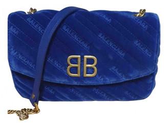 Balenciaga BB Round Navy Velvet Handbags