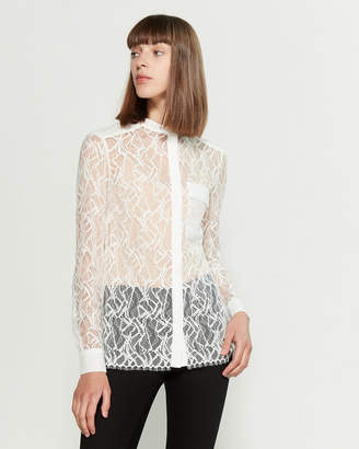 Reiss Off White Betsey Long Sleeve Lace Shirt