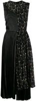 Junya Watanabe contrast pleated midi dress
