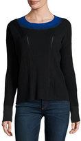 Rag & Bone Lynette Ribbed Ombre-Neck Pullover Sweater, Black