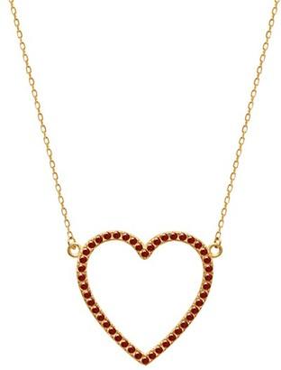 GABIRIELLE JEWELRY 22K Gold Vermeil Cubic Zirconia Open Heart Pendant Necklace
