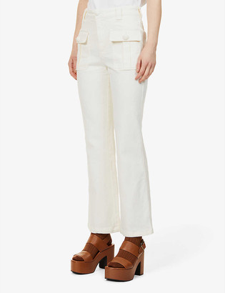 See by Chloe City wide-leg high-rise recycled cotton-blend stretch-denim jeans