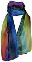 Invisible World Hand-Painted 100% Silk Scarf - Rainbow Horizon