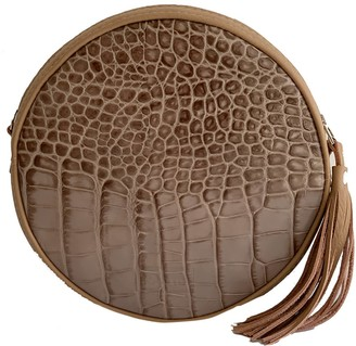 Natural Leather Cross Body Bag Clutch Muscat - Sand/Reptile Leather Print Imitation