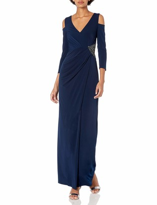 Laundry by Shelli Segal Women's Matte Jersey Gown with Cold Shoulder Sleeves