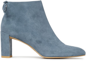 Stuart Weitzman Lofty Bow-detailed Suede Ankle Boots