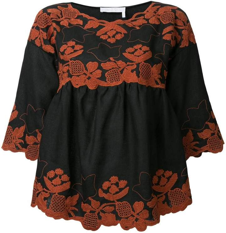 Chloé folk embroidered blouse