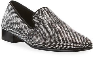 Giuseppe Zanotti Men's Cut 15 Glitter Suede Loafers