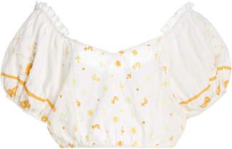 LoveShackFancy Domingo Floral-Embroidered Cotton Off-The-Shoulder Crop Top