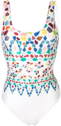 Missoni Geometric-Print Open-Back Swimsuit