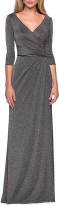 La Femme Long Ruched V-Neck Sparkle Jersey Dress