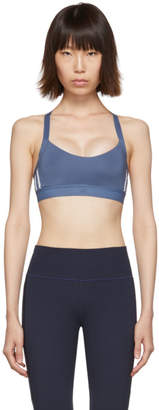 adidas Blue All Me 3-Stripe Sports Bra