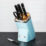 Crate & Barrel KitchenAid ® Professional Series 7-Piece Knife Block Set Aqua Sky