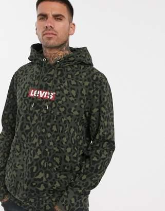 Levi's original boxtab logo cheetah print hoodie in olive woods-Green