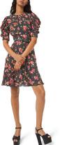 Michael Kors Draped Puff-Sleeve A-Line Dress