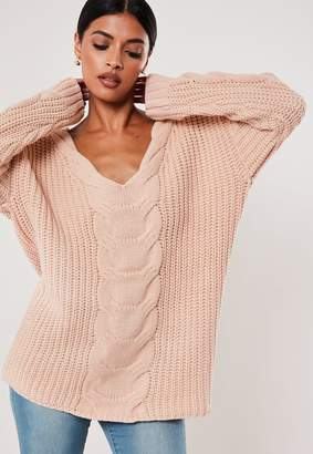 Missguided Blush Extreme V Neck Cable Knit Jumper