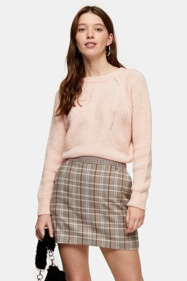 Topshop Pink Swirl Cropped Sweater
