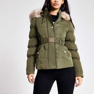 River Island Womens Khaki faux fur hood quilted jacket