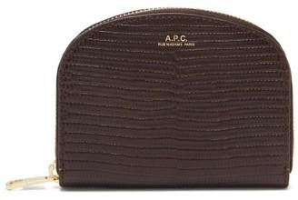 A.P.C. Half Moon Lizard-effect Leather Wallet - Dark Brown