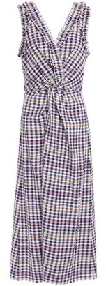 Hofmann Copenhagen Twist-front Gingham Seersucker Midi Dress