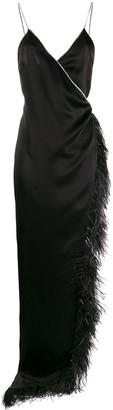 David Koma Feather-Embellished Asymmetric Dress