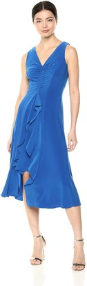 Taylor Dresses Women's Sleeveless v-Neck Knit Dress with Tiered Ruffle Front