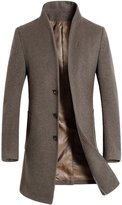 Chouyatou Men's Classic Fit Invisible 3-Button Wool-Blend Trench Coat Windbreaker
