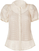 RED Valentino Valentino R.E.D. Ivory Embroidered Silk Round Collar Shirt