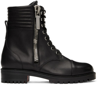 Christian Louboutin Black Leather En Hiver Ankle Boots