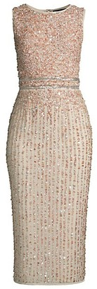 Mac Duggal Sequin Embroidered Sheath Dress