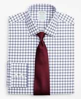 Brooks Brothers Stretch Milano Slim-Fit Dress Shirt, Non-Iron Twill Ainsley Collar Grid Check