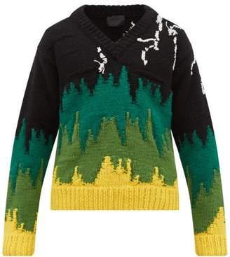 Prada Lightning Embroidered Wool Sweater - Mens - Black Green