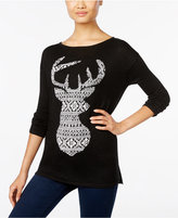 Style&Co. Style & Co Jacquard Deer-Pattern Sweater, Only at Macy's