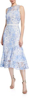Shoshanna Anamaria Floral Lace Sleeveless Fit-&-Flare Dress