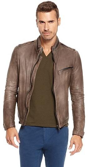 HUGO BOSS Lentio Stand Collar Nappa Leather Jacket - Dark Green