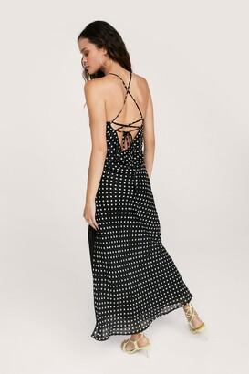 Nasty Gal Womens Polka Dot Tie Back Maxi Slit Dress - Black - 14