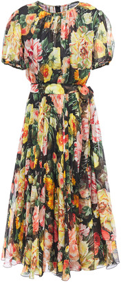 Dolce & Gabbana Belted Floral-print Silk-chiffon Dress