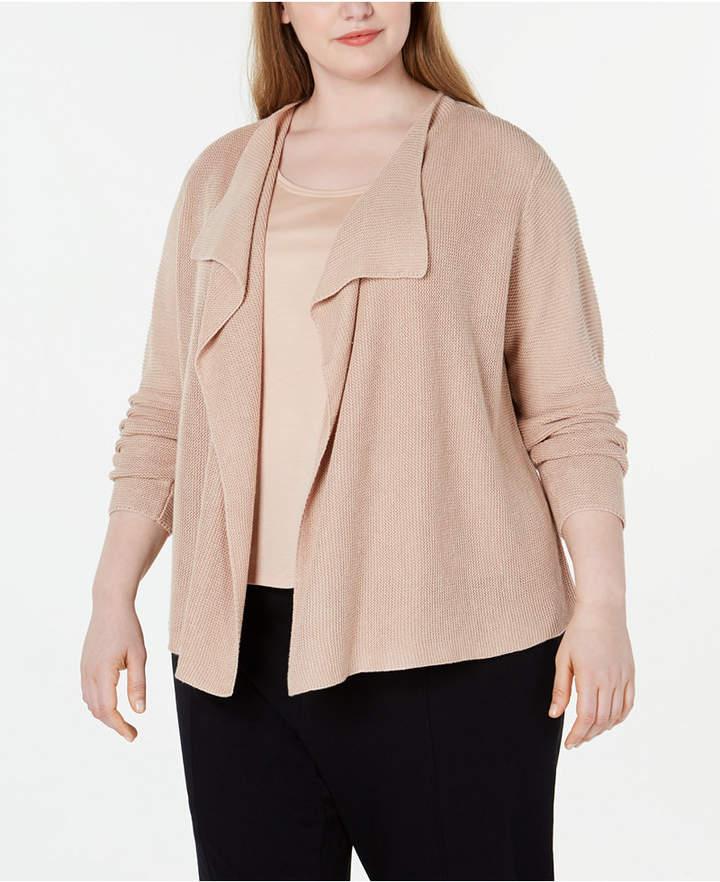 Eileen Fisher Plus Size Drape-Front Cardigan