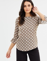 Wallis Spot V-Neck Flute Sleeve Top