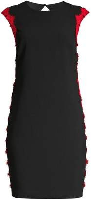 Trina Turk Whim Applique Lace Trim Crepe Dress