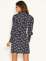AX Paris Ditsy Sheered Cuff Dress - Navy