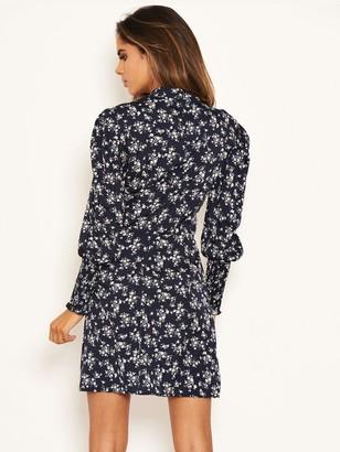AX Paris Ditsy Sheered Cuff Dress - Navy