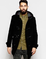 Gloverall Duffle Coat With Check Hood - Black