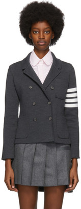 Thom Browne Grey Wool 4-Bar Double-Breasted Jacket